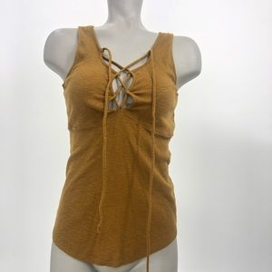 Free People ribbed lace up sexy body con tank NWOT